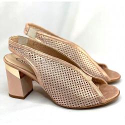 Ażurowe sandały bez pięty na obcasie skórzane Embis 1719