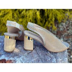 Ażurowe sandały bez pięty na obcasie skórzane Embis 1719 srebrne