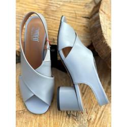 Sandały na obcasie czarne skórzane buty MELISA SIMEN 1306