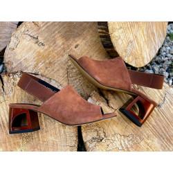 Czarne sandały zabudowane na obcasie  skórzane buty Simen 2382
