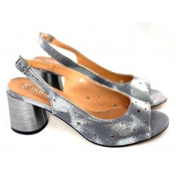 Sandały srebrne na obcasie ze skóry naturalnej Simen 2732