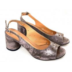 Simen sandały ażurowe srebrne na obcasie ze skóry naturalnej Simen 2732