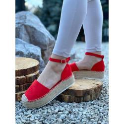 ESPADRYLE czerwone damskie zamszowe WORLD JH93P