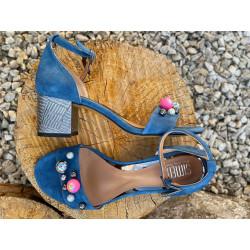 Simen sandały ażurowe miedziane na obcasie ze skóry naturalnej Simen 2732
