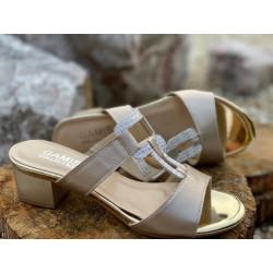 KLAPKI szare na niskim obcasie buty GAMIS  3704