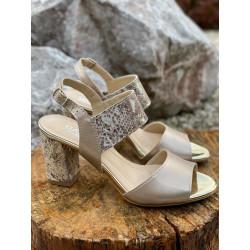 Beżowe sandałki na obcasie buty GAMIS  3940
