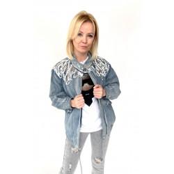 Kurtka jeansowa z dzetami czarna