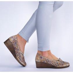 Lanqier ażurowe buty damskie skórzane na koturnie 1328
