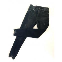 Spodnie damskie czarne jeansy z dziurami Push up