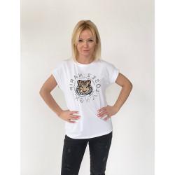 T-shirt miętowy z aplikacją Tygrysa