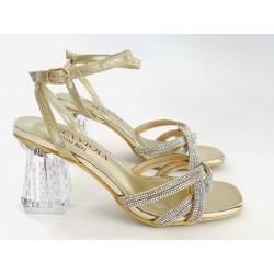 Scaviola sandały sylikonowe na obcasie z cyrkoniami  srebrne G60