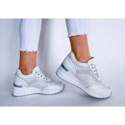 Sneakersy białe ażurowe skórzane Comfort FT-85