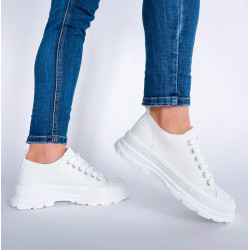 Trampki za kostkę  sznurowane białe buty sportowe Lejdis 2060