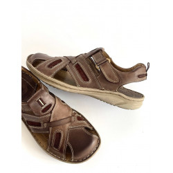Riko 806 granatowe skórzane sandały