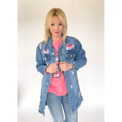 Płaszcz jeansowy długi z przetarciami niebieska kurtka na guziki
