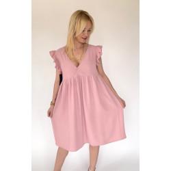 Sukienka taupe z falbankami La Quede