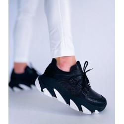 SNEAKERSY sport damskie  czarne skórzane buty SIMEN 2809