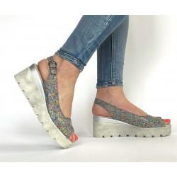 Sandałki na platformie ze skóry naturalnej beżowe  Simen 2754 OBNIŻKA