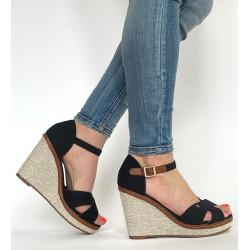 Sandały damskie  na koturnie ze skóry naturalnej szare Simen 06812