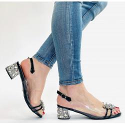 Scaviola sandały sylikonowe srebrne na obcasie z kamieniemi G25