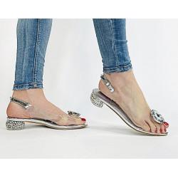 Scaviola Sylikonowe srebrne sandały  na obcasie z kamieniem  G15