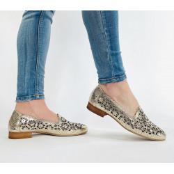 Ażurowe buty damskie złote skórzane Clasicco 0456