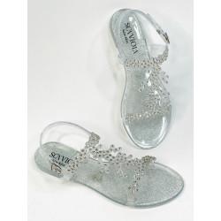 Scaviola sandały sylikonowe srebrne  z cyrkoniami G-64