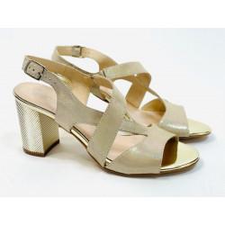 Gamis pudrowe  sandałki na obcasie buty  skórzane 3390 OBNIŻKA