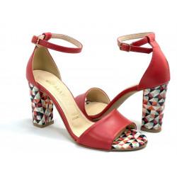 Sandały damskie złote na obcasie skórzane Gamis 5068