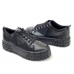 Czarne trampki na grubej podeszwie fashion La134p