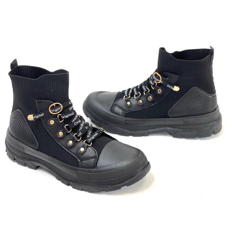 Trampki za kostkę  sznurowane czarne  buty sportowe Lejdis HR32