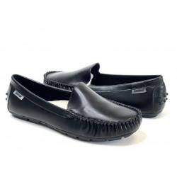 NESSI Mokasynki damskie czarne skórzane buty 17130