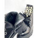 Botki damskie czarne z perłami Palito 1179