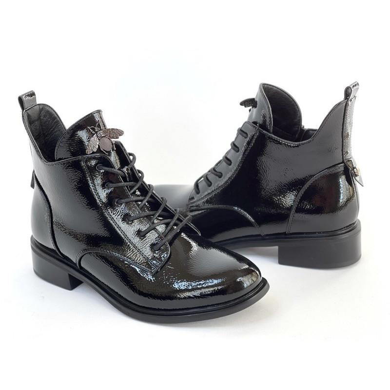 Sztyblety damskie czarne trapery  botki 3085