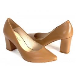 Pantofle na słupku LOFT czółenka karmelowe DAMISS 43