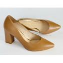 CAMEL  zamszowe pantofle na słupku LOFT czółenka DAMISS 250