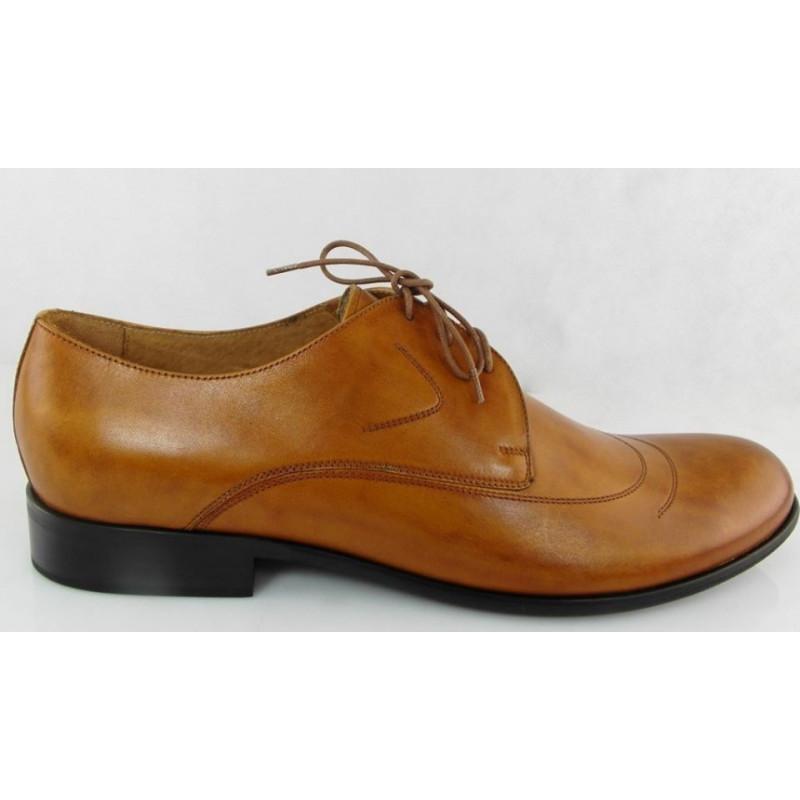 Pilpol 637 brązowe crast szerokie pantofle wizytowe