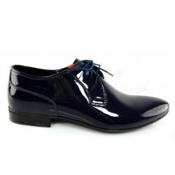 Lavaggio 1010 granatowe lakierowane męskie pantofle