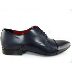 Lavaggio 1601  granatowe lakierowane męskie pantofle
